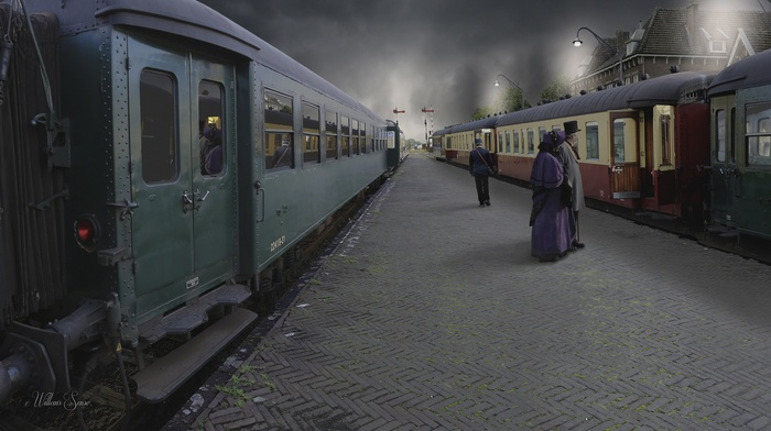 photography, train, train station, photo manipulation