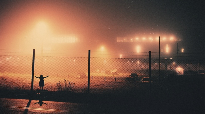 lights, chain, link, mist, photography, road, building, night