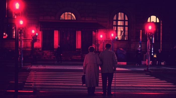 night, street, photography, old people, building, city, couple, lights, street light, urban, red