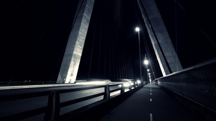 lights, architecture, night, urban, monochrome, bridge, photography