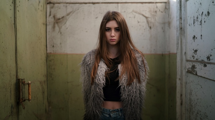 portrait, girl, model, jeans