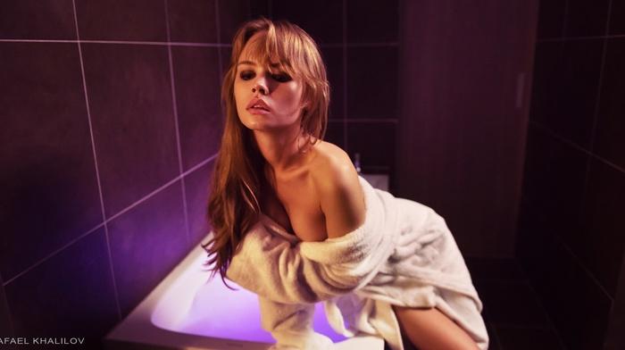 Anastasia Scheglova, blonde, bathroom, cleavage, bathrobes, sideboob, no bra, girl, smoky eyes, bare shoulders, Rafael Khalilov