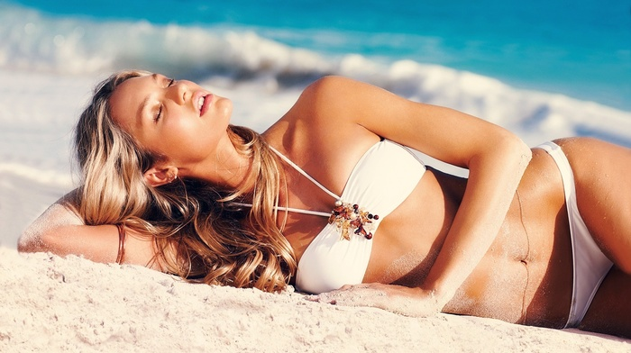 blonde, Candice Swanepoel, face, beach, bikini, girl