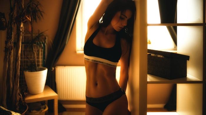 brunette, tattoo, girl indoors, pierced navel, model, Miro Hofmann, underwear, arms up, girl, armpits, Calvin Klein
