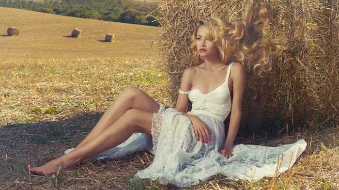 white dress, model, girl