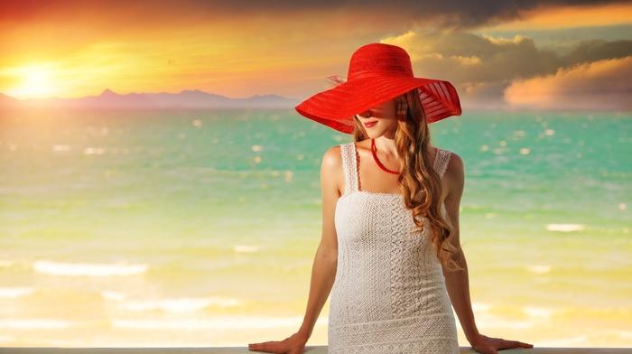 girl, model, hat