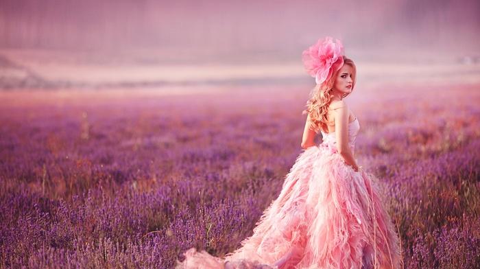 girl, field, model