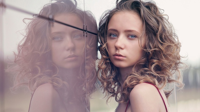 model, face, reflection, portrait, girl