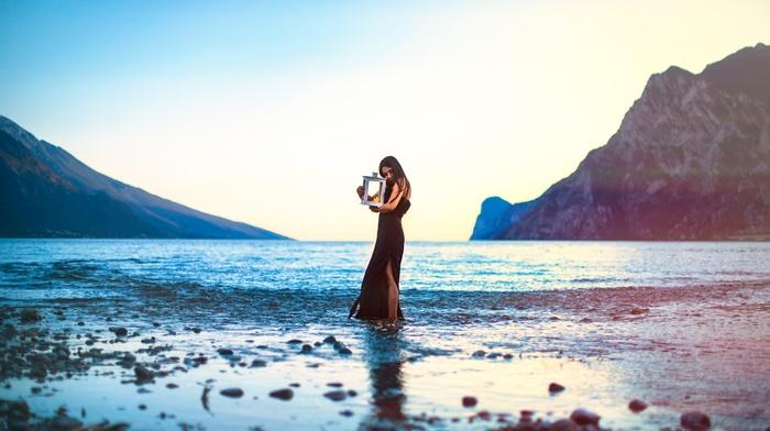 lantern, fantasy art, girl, landscape