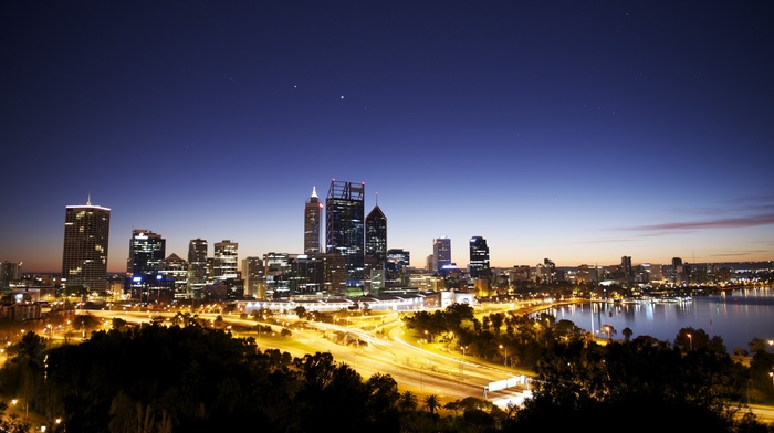 Australia, lights, bay, dusk, cityscape, street light, city lights, photography, urban, Melbourne, city, sea, building, water