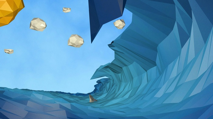 digital art, low poly, nature, clouds, waves, water, sea, Sun