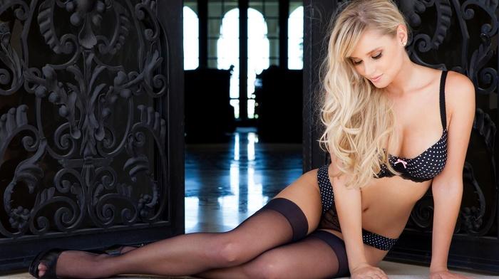 blonde, bra, cleavage, black stockings, lingerie, high heels, polka dots, stockings, girl, model, Genevieve Morton, panties, long hair