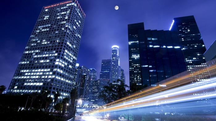 road, moon, los angeles, building, skyscraper, long exposure, urban, city, photography, night, lights, street