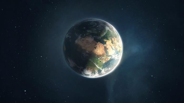 CGI, space art, Earth, render, drawing