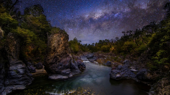 trees, long exposure, galaxy, nature, The Devils Throat, Milky Way, starry night, Chile, landscape, shrubs, canyon, river