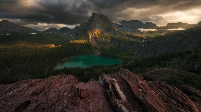 forest, lake, landscape, nature, Glacier National Park, sunset, mountains, Montana, clouds, sunlight