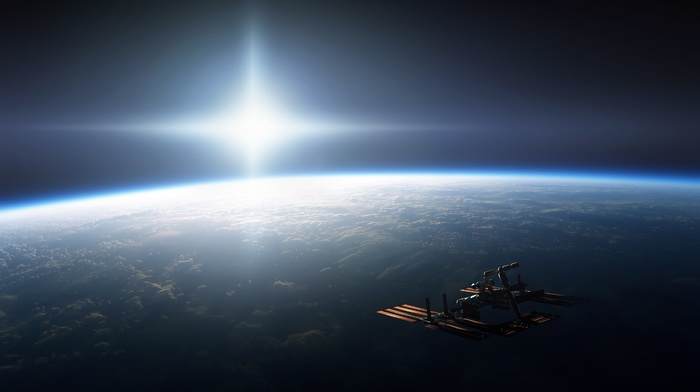 CGI, ISS, International Space Station, horizon, digital art, Sun, space station, space art, space, photography, Earth