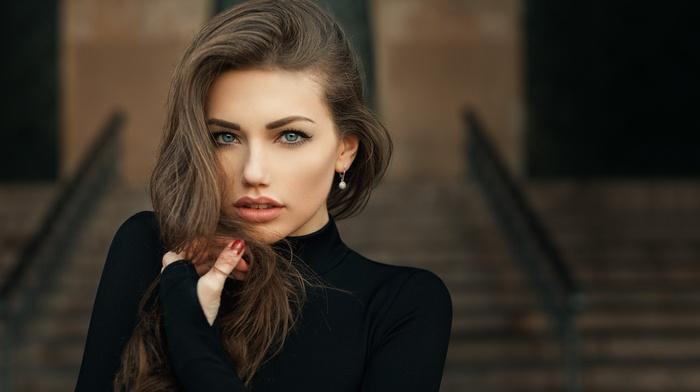 depth of field, Svetlana Grabenko, blue eyes, portrait, Tonny Jrgensen, black clothing, juicy lips, red nails, girl, brunette