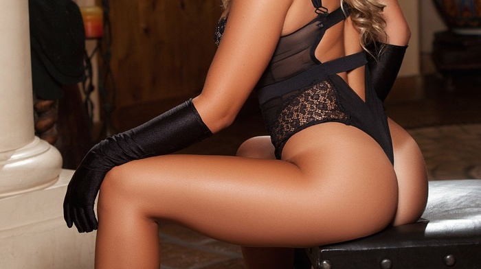 ass, Playboy, sitting, long hair, rear view, black heels, looking at viewer, elbow gloves, red lipstick, chair, Tahlia Paris, black lingerie, blonde