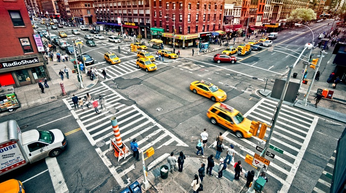 New York Taxi, people, city, architecture, New York City, crowds, USA, crossroads, taxi, street, building, urban, cityscape, car