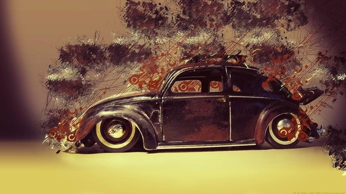 artwork, car, old car, lines, digital art, Volkswagen, Low Rider, painting, wheels, classic car, paint splatter, Volkswagen Beetle