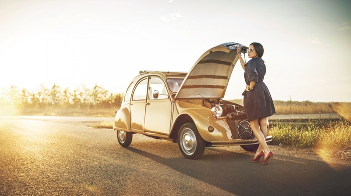 grass, girl, girl outdoors, trees, car, high heels, engines, road, long hair, coats, Citroen 2CV, red lipstick, shadow, brunette, Citron, classic car, girl with cars, sunglasses, sunlight, nature, lens flare, old car