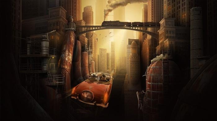digital art, couple, sunlight, old car, skyscraper, flying, car, factory, classic car, fantasy art, building, smoke, lights, fans, Cabrio, futuristic, girl, bridge, futuristic city, urban, birds, vintage, steam locomotive, street, train
