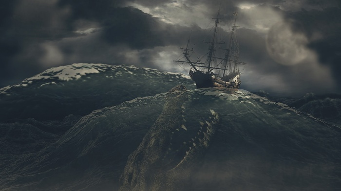 dark, waves, digital art, storm, fangs, ship, nature, moon, sailing ship, creature, sea, sea monsters, clouds, muzzles