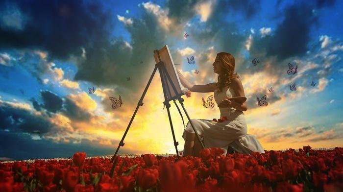 butterfly, girl, digital art, easel, painting, tulips