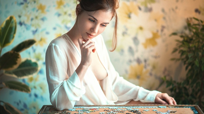 girl, boobs, puzzles