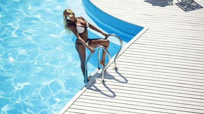 model, swimming pool, white bikini, blonde, girl, sunglasses