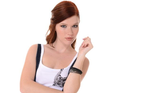redhead, hazel eyes, freckles, Mia Sollis, simple background, girl, looking at viewer