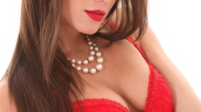 lingerie, girl, pornstar, portrait display, Markta Stroblov, looking at viewer, simple background, brunette