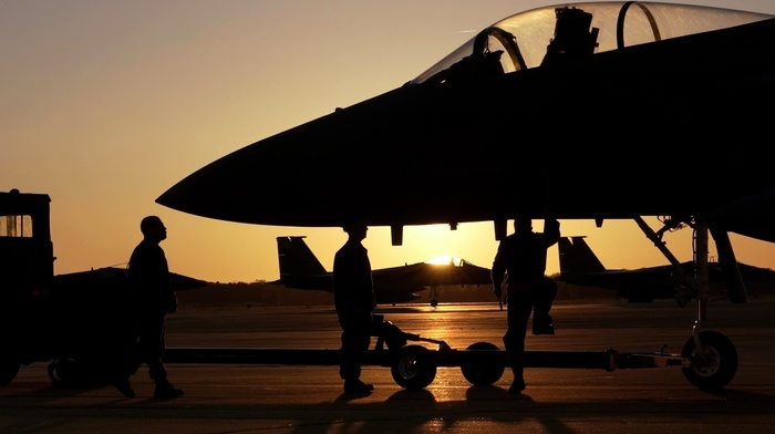 sunset, aircraft, military base, F15 Eagle, military aircraft, jet fighter, photography, airplane