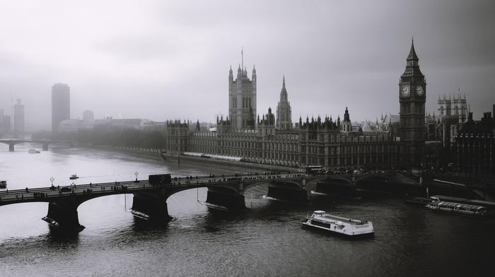 building, mist, UK, urban, architecture, bridge, monochrome, River Thames, river, Big Ben, photography, water, London, city