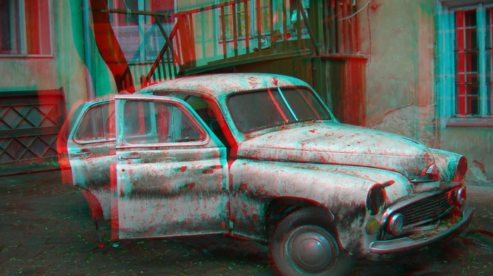 saab, rust, old car, car, anaglyph 3d, 3D