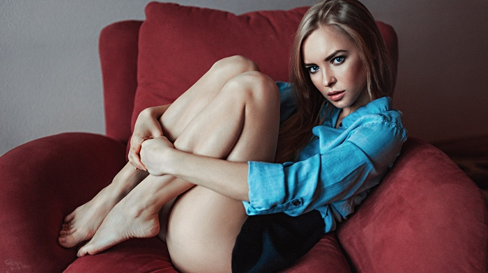 blue eyes, holding knees, portrait, Victoria Pichkurova, Georgy Chernyadyev, feet, blonde, ass, upskirt, girl, shirt