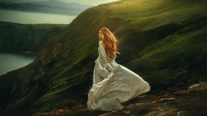 mountains, blonde, girl outdoors, redhead, white dress, dress, long hair, model, looking away, fantasy art, girl