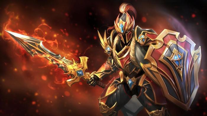 dragon, video games, hero, Defense of the ancient, Valve, Dota 2, Dragon Knight, Valve Corporation, Dota, shield, sword