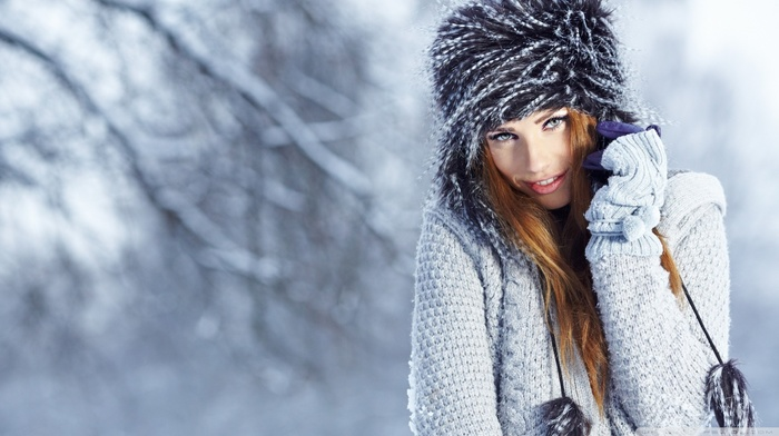 gloves, winter, green eyes, snow
