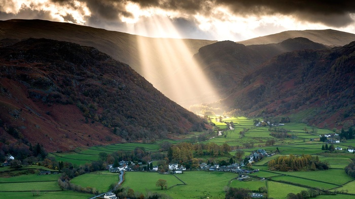 sun rays, trees, house, UK, nature, valley, village, mountains, landscape, hills, road, forest, England, clouds, sunlight, grass