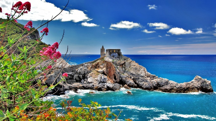 tower, clouds, cliff, trees, branch, leaves, coast, castle, Italy, architecture, sea, Cinque Terre, rock, summer, waves, flowers, nature, horizon, landscape