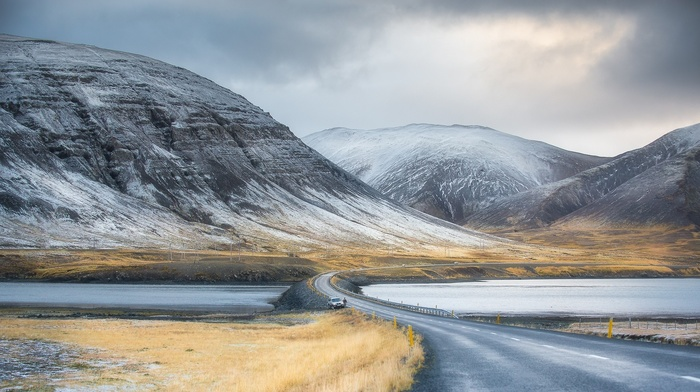 men, nature, lake, HDR, field, snow, clouds, road, landscape, mountains, winter, frost, water, car, hills