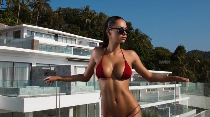 Helga Lovekaty, boobs, Aleksandr Mavrin, brunette, the gap, model, bikini, long hair, girl