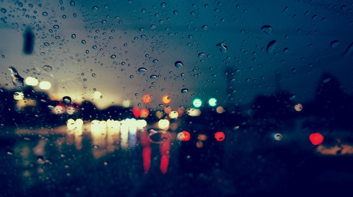 blurred, water drops, bokeh, street, reflection, glass, lights, urban, rain, photography