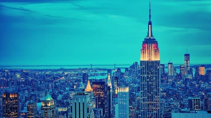 New York City, building, skyscraper, lights, blue, empire state building, city, cityscape, photography, urban