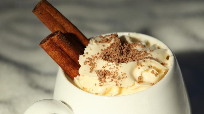 cup, whipped cream, closeup, macro, cinnamon, coffee, food