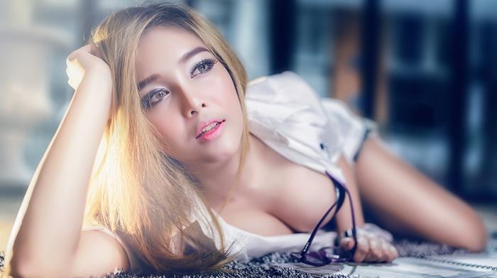 Asian, boobs, model, girl, blonde