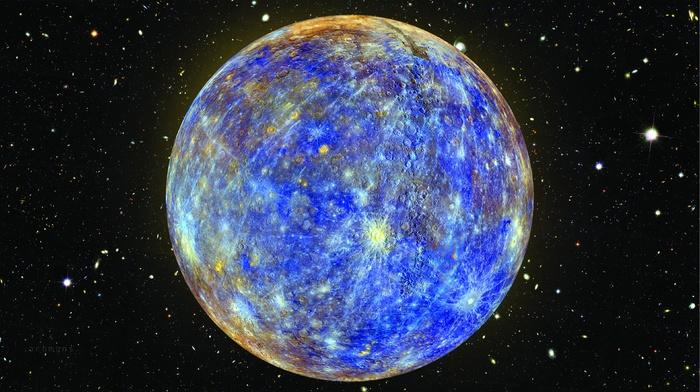 space, NASA, planet, shiny, blue, Hubble Deep Field, photoshop, Mercury, stars