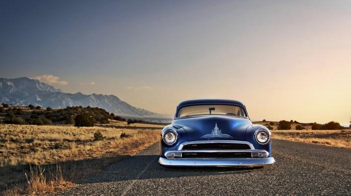 Chevy, desert, blue cars, Hot Rod, Chevrolet, car